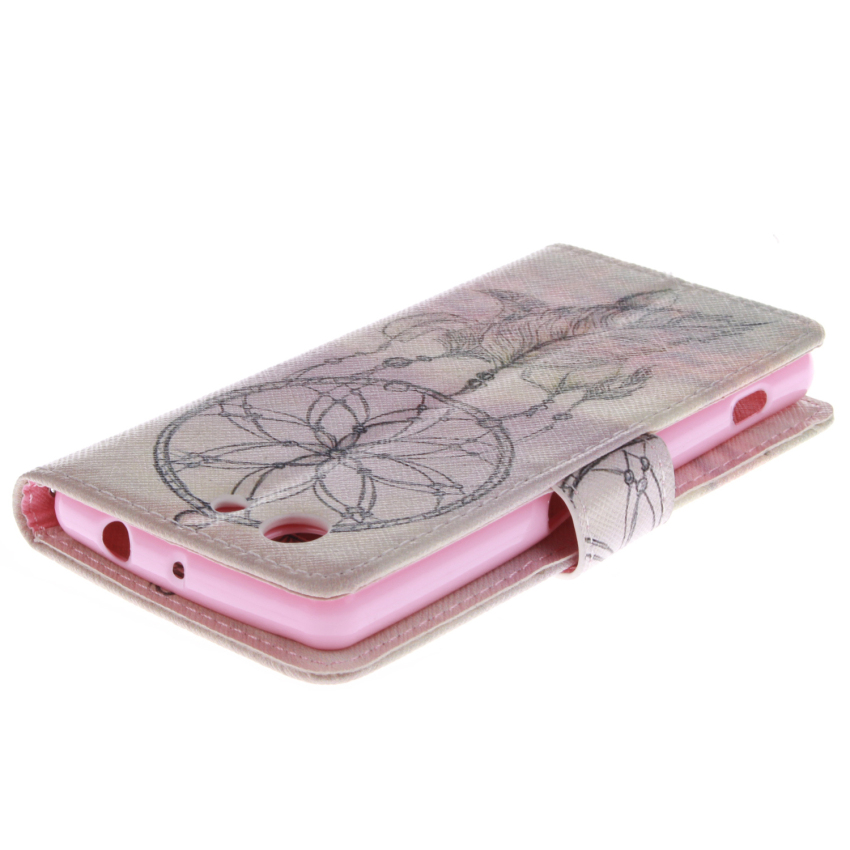Flip Leather Case Built in Card Slot with Dreamcatcher Double Painting for Sony Xperia Z3 Mini (White/Pink) (Intl)