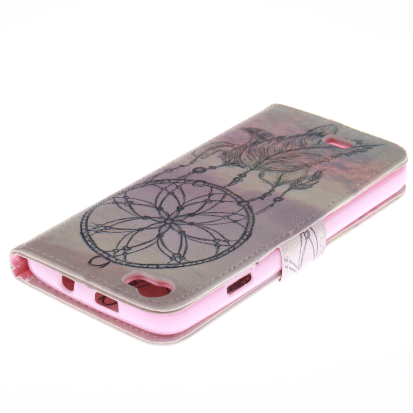 Flip Leather Case Built in Card Slot with Dreamcatcher Double Painting for Wiko Lenny (White/Pink) (Intl)