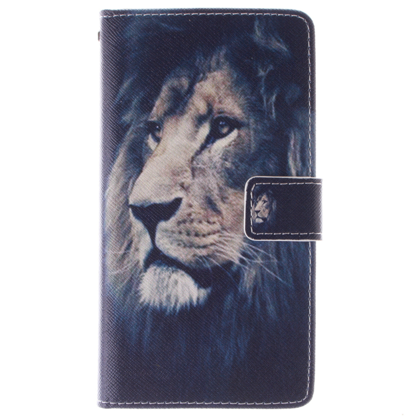 Flip Leather Case Built in Card Slot with Lion Double Painting for Samsung Galaxy E7 (Black) (Intl)