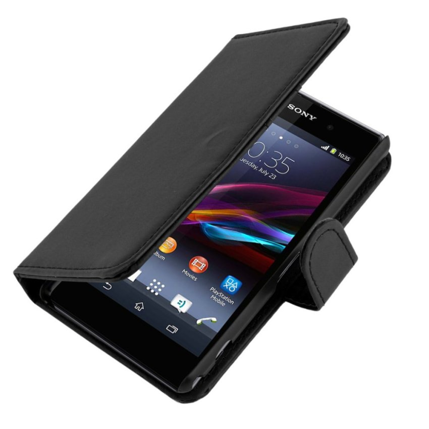 Flip Leather Case with Screen Protector and Stylus for Sony Xperia Z1 (Black)