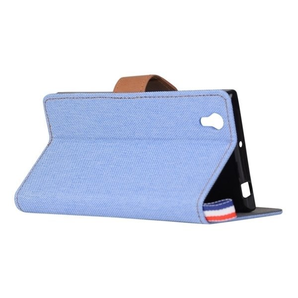 Flip Leather Cover with Card Slots Holder for Lenovo P70 (Blue) (Intl)