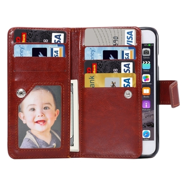 Flip Leather Wallet Cover with 7 Card Slots & Lanyard for iPhone 6 & 6s(Coffee) (Intl)
