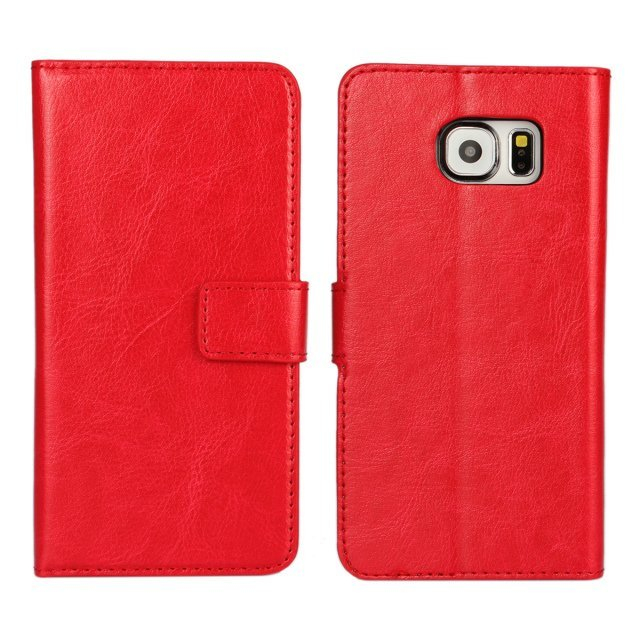 Flip Protective Crazy Horse Stripe Purse Holster Cover for Samsung Galaxy S6 (Red)