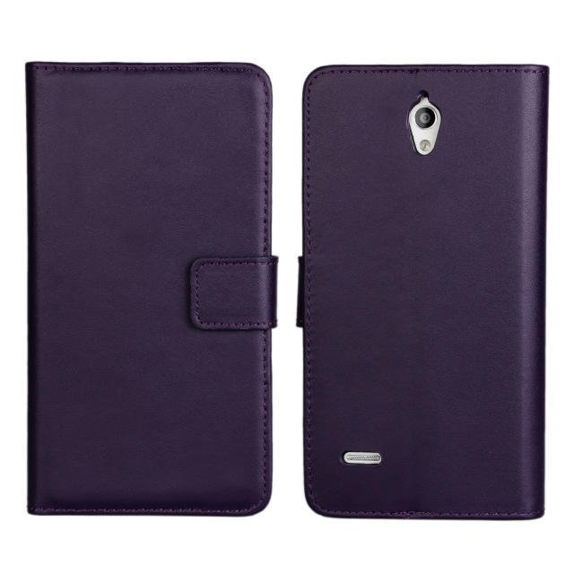 Flip Protective Plain Leather Wallet Cover for Huawei Ascend G700 (Purple)