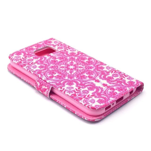 Flower Design Wallet PU Leather Case for Samsung Galaxy S6 (Pink)