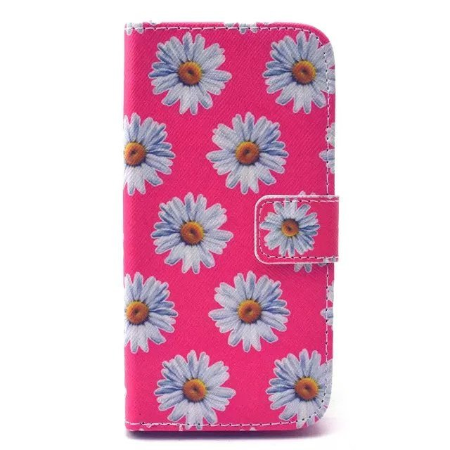 Flower Leather Flip Case Cover for Samsung Galaxy S5 Mini (Pink)