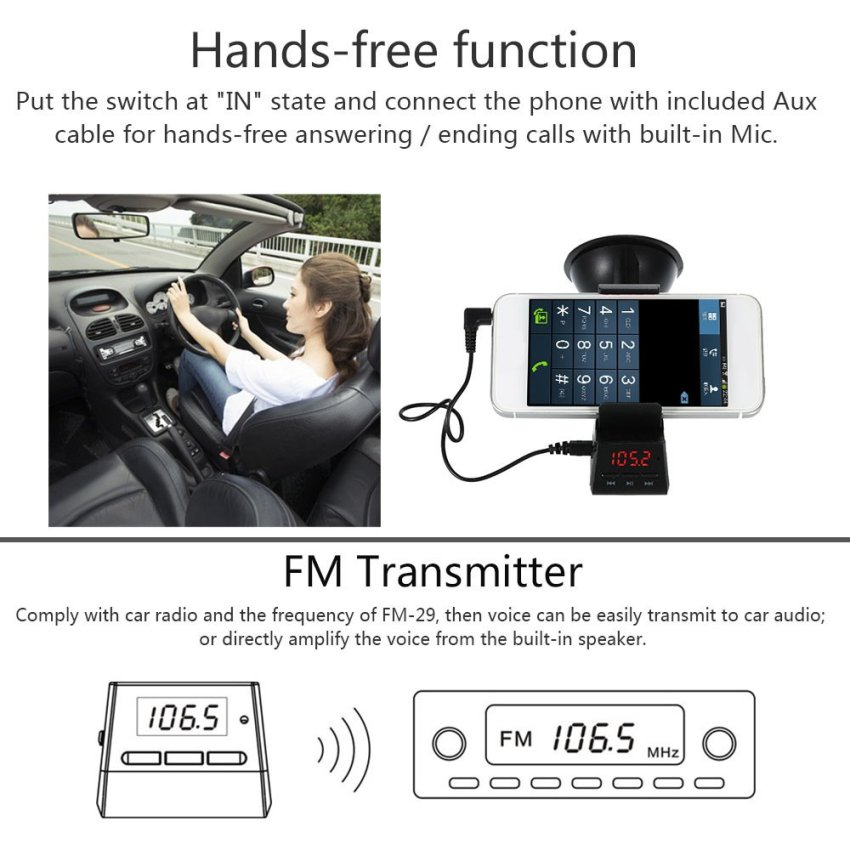 FM-29 Multifunctional Phone Holder 360 Rotating Clip Car Holder Support TF Card AUX MP3 Player FM Transmitter Car Charger Hands-free with Microphone and Speaker Black for iPhone 6s 6 Samsung HTC GPS (Intl)