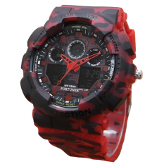 Fortuner Dual Time - Jam Tangan Sport Pria - Rubber Strap - FR AD9033 Army Red
