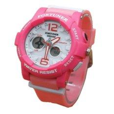 Fortuner Dual Time Jam Tangan Wanita - Pink - Strap Karet - F615 P