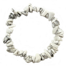 Freebang Charm Gemstone Bead Crystal Millefiori Glass Quartz Chip Stretch Bangle Bracelet White Howlite - INTL