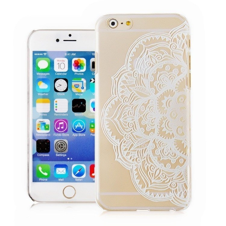 Fringe Vintage Flower Fashion Luxury Phone Back Case for Apple iPhone5S (White/Clear) (Intl)