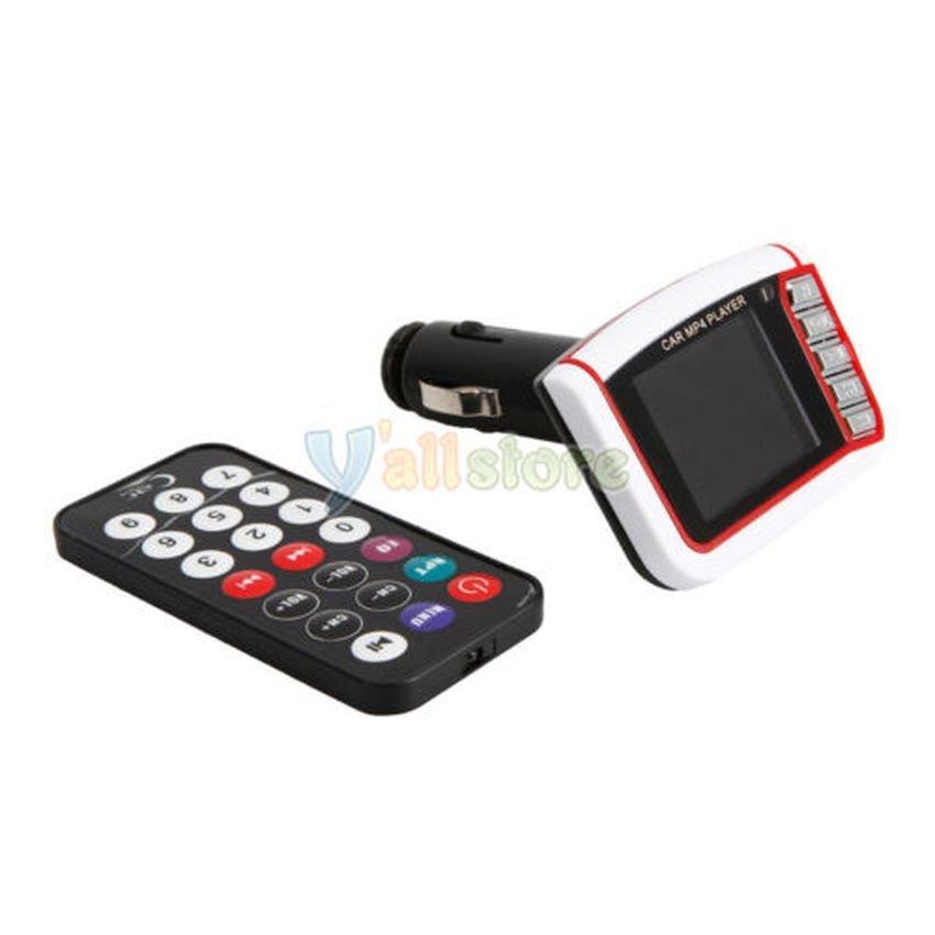 FSH Wireless 1.8 LCD Car Kit MP3 MP4 Music Player FM Transmitter USB SD MMC Remote (White) (Intl)