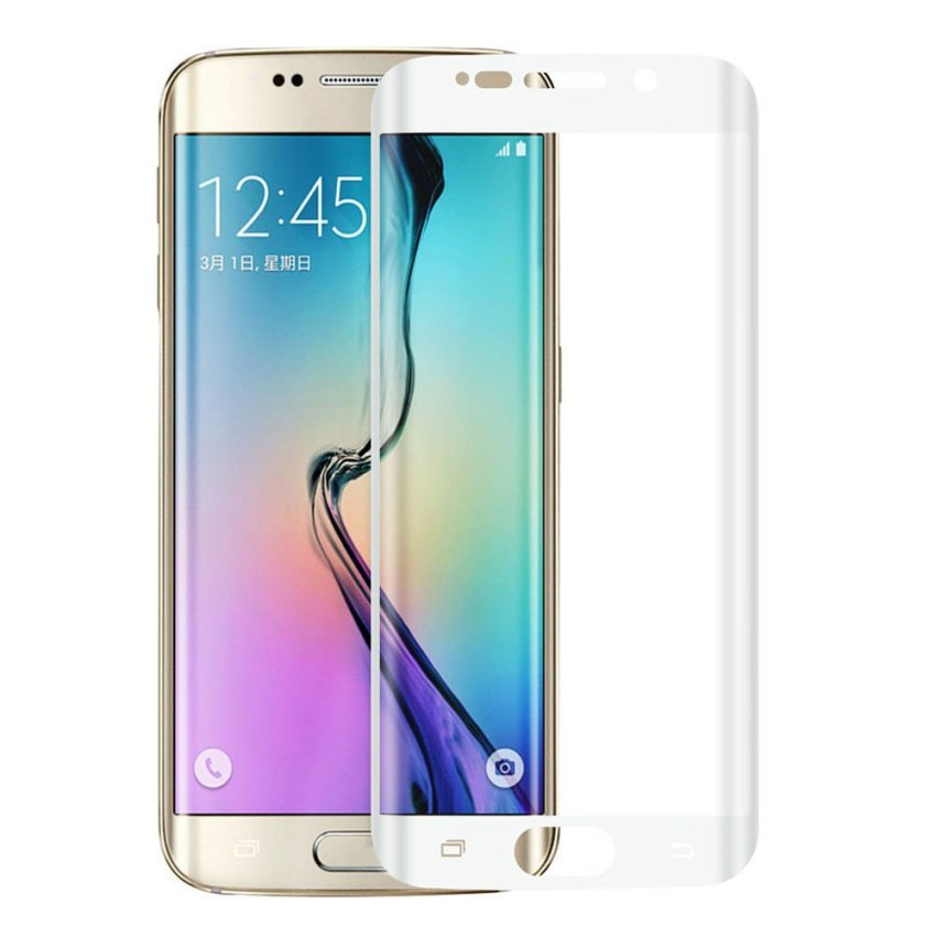 Full Coverage 3D Curved Tempered Glass for Samsung Galaxy S6 Edge (White) (Intl)