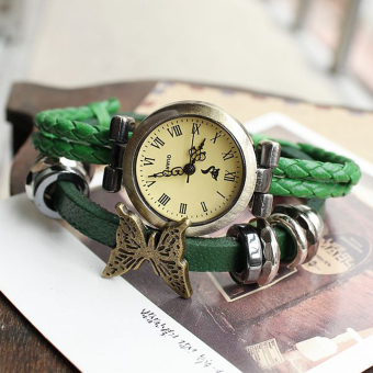 Functional Lap Metal Ring Fox Meter Butterfly PU Leather Watch Watches