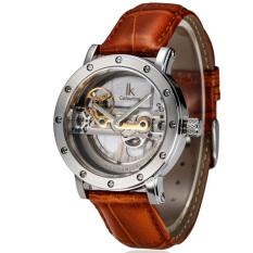 Fuskm IK Apa Qi Automatic Mechanical Watch Double-sided Hollow Steel Tide Male Table 50 Meters Waterproof Watch 98393G (Brown)