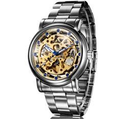 Fuskm IK Apa Qi Hollow Full-automatic Mechanical Watch Diamond Male Table Men's Watch Disc-98228G (Gold)