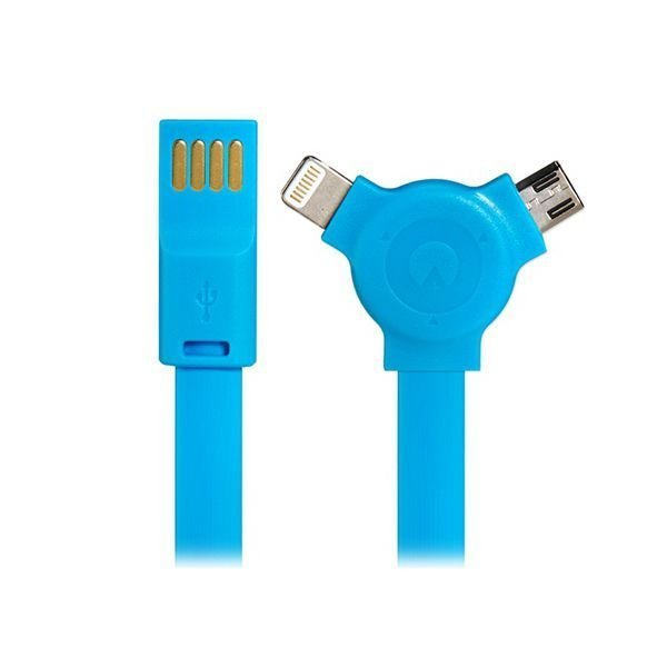 Generic 1.1M 2 In 1 8 Pin/Micro USB Flat Charging Data Cable for iPhone5/5S Samsung Blue
