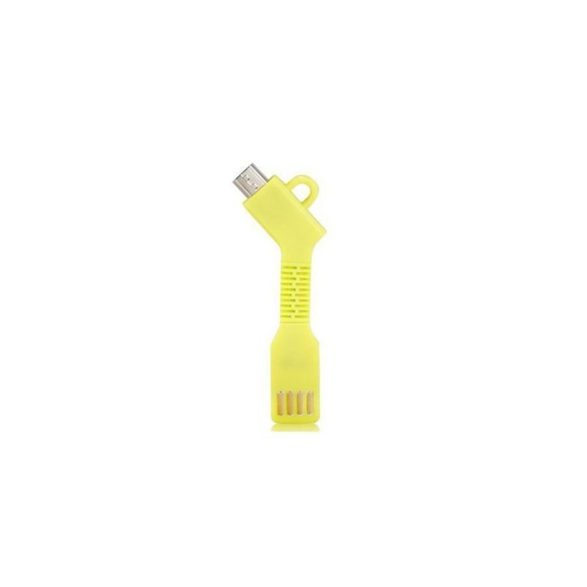 Generic 1.5CM Micro USB Charging Data Cable with Key Chain(Yellow)