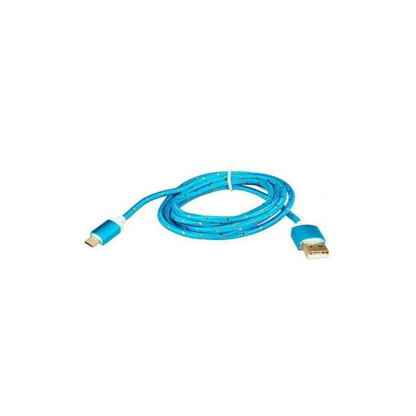 Generic 1.5M Micro USB to USB 2.0 Knit Charging Data Cable (Blue)