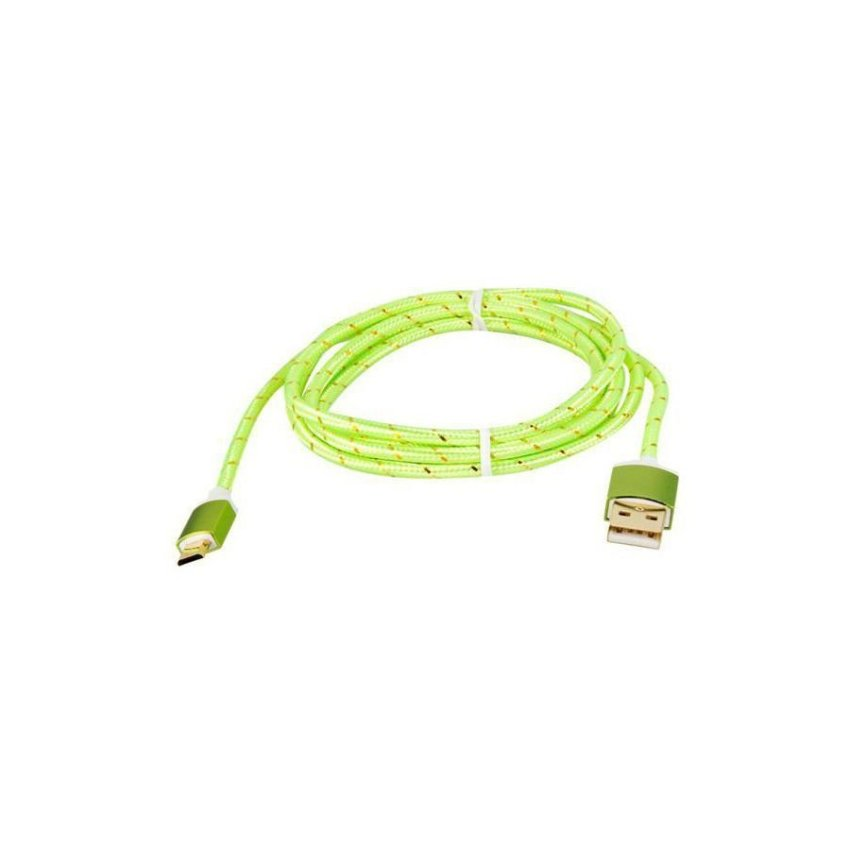 Generic 1.5M Micro USB to USB 2.0 Knit Charging Data Cable (Green)