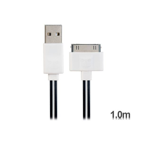 Generic 1 m Apple 30 Pin to USB LED Flashing Charging Data Flat Cable for iPhone 4/4S iPad 2/3/4 Black