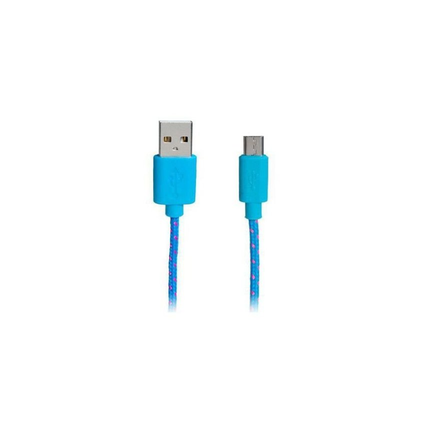 Generic 1 m Micro USB Nylon Woven Charging Data Cable for Samsung/ HTC (Blue)