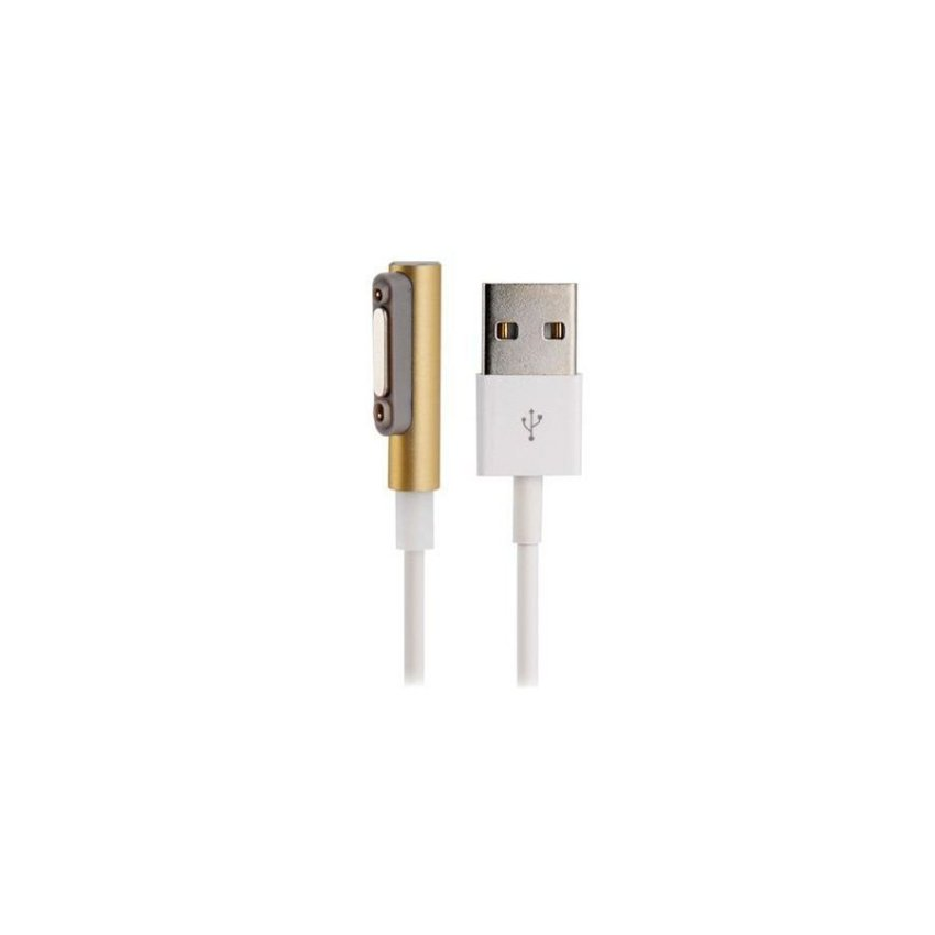Generic 1m Magnetic USB Charging Data Cable with LED Light for Sony Xperia (Golden)