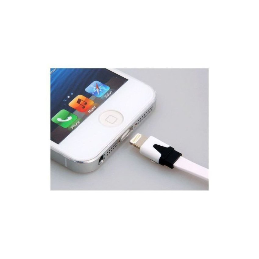 Generic 2 m Data Transmission Charging Flat Cable for iPhone 5 iPad Mini iPod Touch 5 iPod Nano 7 iPad 4 White