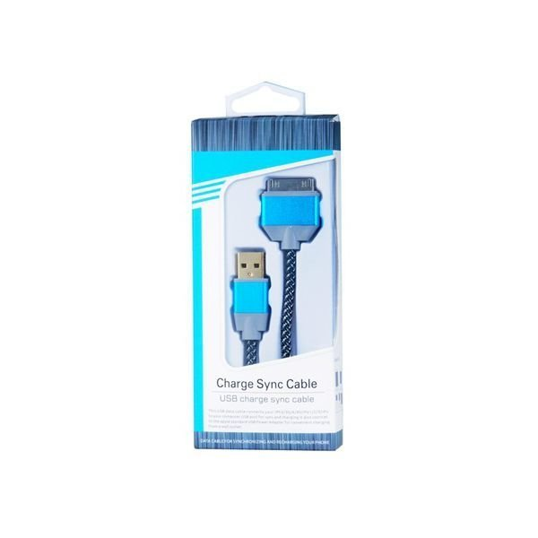 Generic 2188 30 pin Woven Round Charging Data Cable for iPhone 4/4S Blue