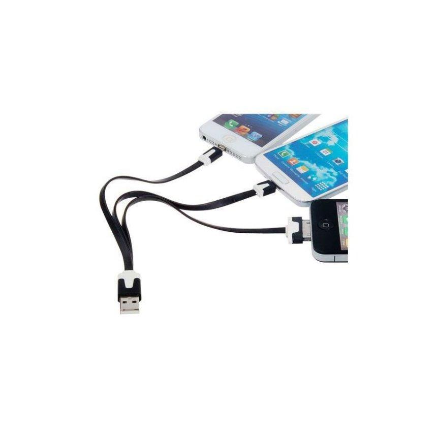 Generic 3 in 1 Flat Data Charging Cable for iPhone 5 iPod Touch 5 iPod Nano 7 iPad mini iPad 4 Black