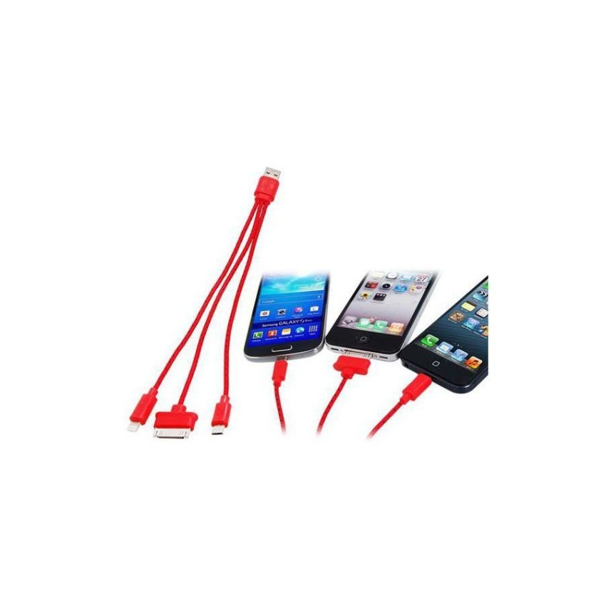 Generic 3 in 1 Woven USB Charging Data Cable for Samsung HTC iPhone (Red)