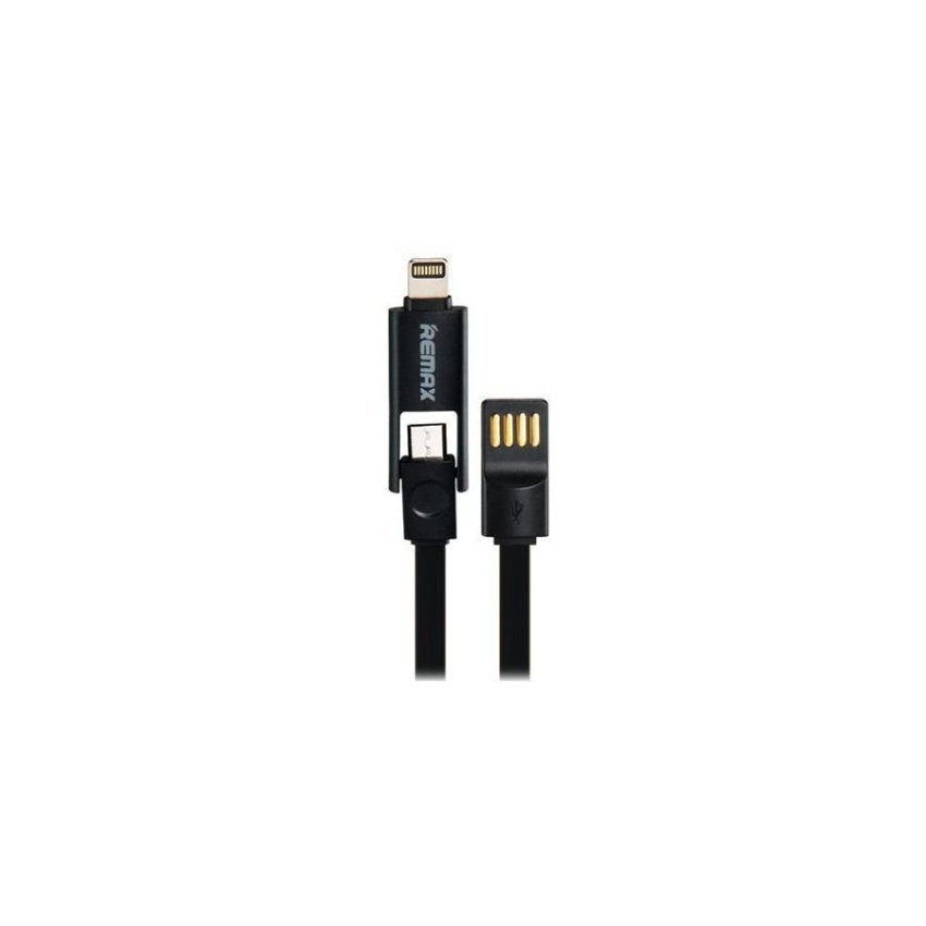 Generic REMAX 85CM 2 In 1 8 Pin/Micro USB Flat Charging Data Cable Black
