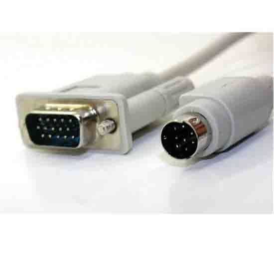 Generic S Video 8 Pin to SVGA VGA 15 Pin HDB15 Converter Cable (Silver)