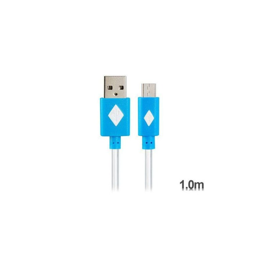 Generic V8 1 m LED Colorful Flashing Micro USB to USB Charging Data Cable (Blue)