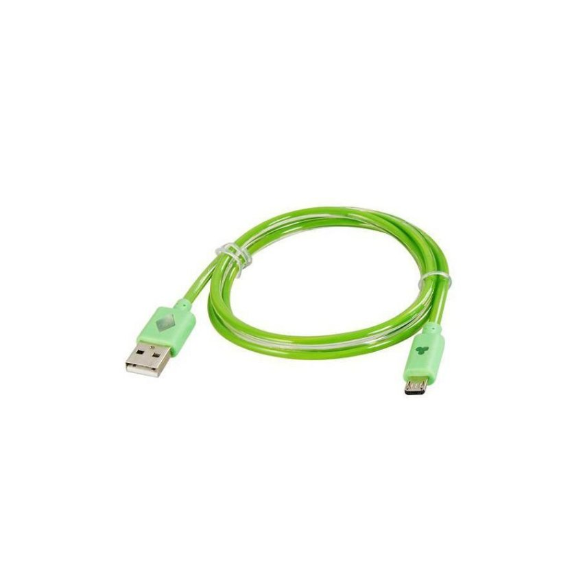 Generic V8 1 m LED Colorful Flashing Micro USB to USB Charging Data Cable (Green)