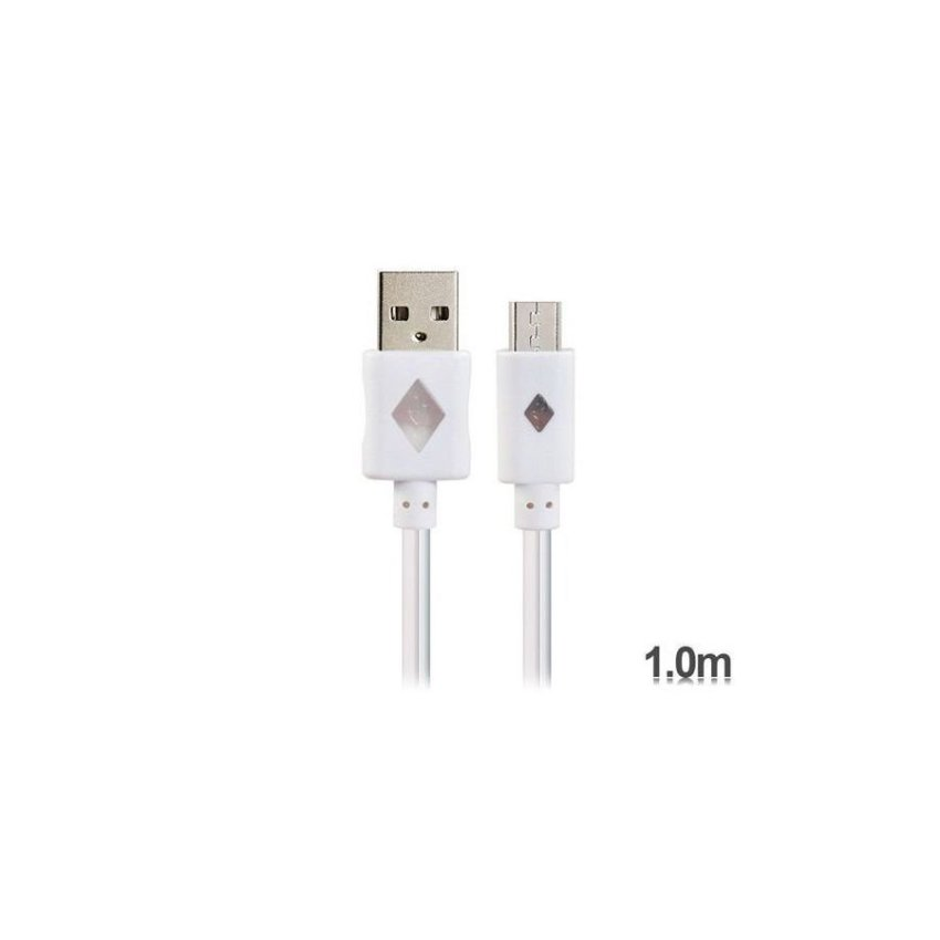 Generic V8 1 m LED Colorful Flashing Micro USB to USB Charging Data Cable (White)