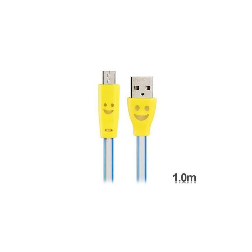 Generic V8 Smiley Face Print USB to Micro USB Cable (Yellow)