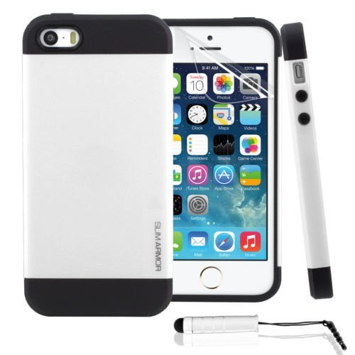 Genuine Leather Wallet Pouch Case Cover with Screen Protector and Stylus for iPhone SE / 5S / 5 White