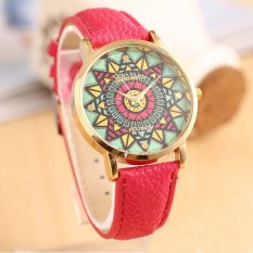 Genvea Color Compass Gold Dial Leather Band Women Quartz Wrist Watch Hot Pink