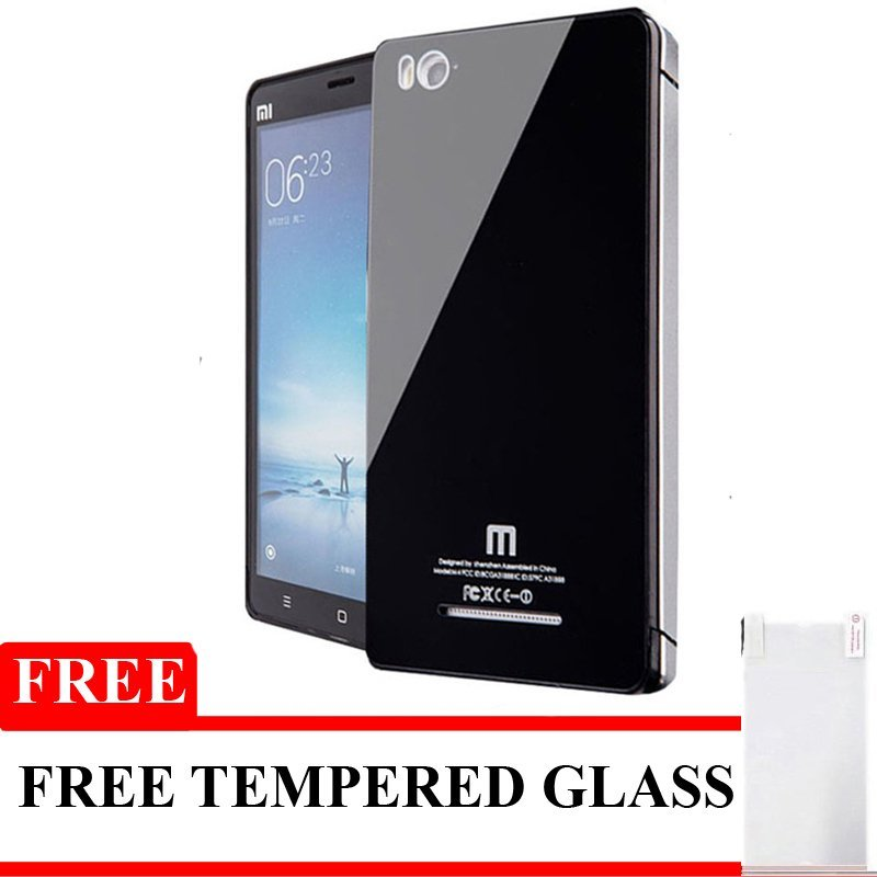 Glass Aluminium Bumper tempered For Xiaomi Mi4i Free Tempered glass - Hitam