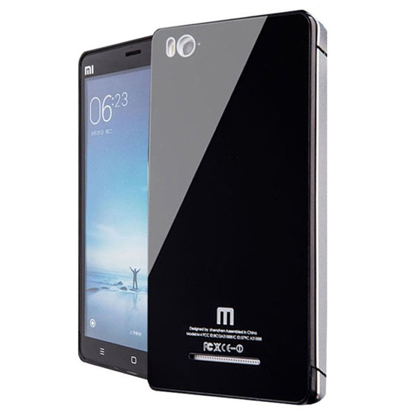 Glass Aluminium Bumper tempered For Xiaomi Mi4i - Hitam
