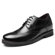 GN6591.2.36 Inches Taller-Genuine Leather Heightening Elevated Oxfords Business Dress Shoes (Black)