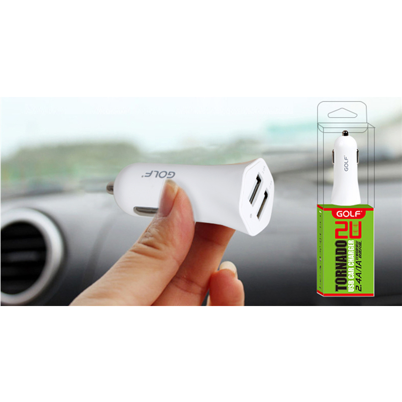 Golf Mini Dual Usb 1A / 2.4A Mobile Phone Car Charger for Apple iPhone 7/7S 6/6s Plus SE/5S/5C iPad , Samsung Galaxy S6 S7 S8 Edge Note 6/5/4 , Huawei Mate S 8/7 P8 P9 Sony LG Xiaomi HTC (Intl)