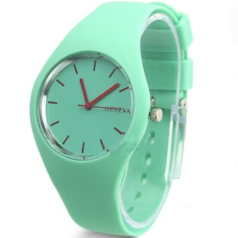 Gracefulvara Fashion Women Solid Jelly Color Silicone Band Quartz Sports Lady Girls Casual Wrist Watch (Mint Green)