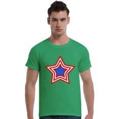 Grunge Patriotic Star Logo Cotton Soft Men Short T-Shirt (Olive) - Intl