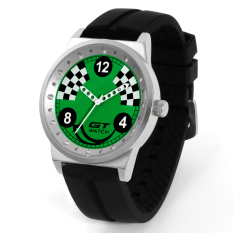 GT WATCH Brand Drift Collection Auto Racer Sport Black SiliconeStrap Stainless Steel Case Japan Analog Movement Wristwatch GT1400Green