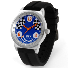 GT WATCH Brand Graffitied Collection Auto Racer Sport BlackSilicone Strap Stainless Steel Case Japan Analog MovementWristwatch GT1600 Blue - Intl