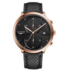 GUANQIN 2016 Fashion Men's Luxury Top Brand Big Dial Full Black Sport Quartz Watch With Stopwatch Male Wristwatch - Intl