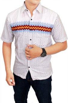 Gudang Fashion Baju Pria Lengan Pendek Putih Kombinasi