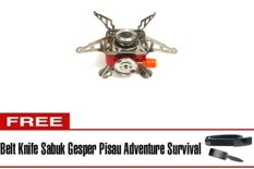 Halona - Kompor Gunung Bonus + Belt Knife Sabuk Gesper Pisau For Survival/Portable Mini Gas Kaleng For Camping/Hiking/Adventure And Survival - Merah